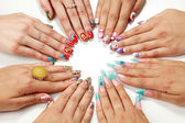 Female hands with various nail arts — Foto de Stock
