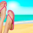 Pink sandals on woman legs. Summer time concept — Stock Photo #9739922
