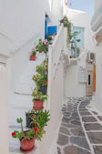 Narrow street of Greek island with stairs and flowers. — Stock Photo