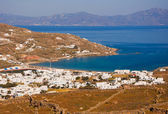 Top view of the town and the old port of Mykonos island. — Stock Photo
