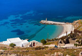 View from the height of the mountain on the island of Mykonos: t — Stock Photo