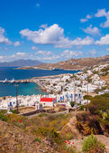 Chora Mykonos with port on the background of the sea, islands an — Foto Stock