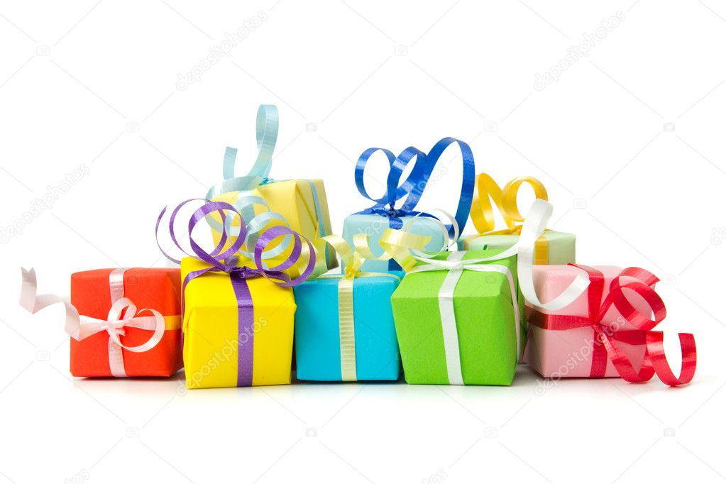 Multi color gift boxes with ribbon isolated on white background  Stock Photo #13198437