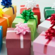 Various colour gift boxes — Stock Photo
