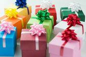 Various colour gift boxes — Stock Photo