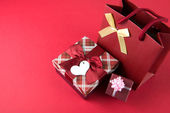Gift boxes and gift bag — Stock Photo