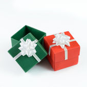 Green and red gift boxes — Stock Photo