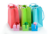 Gift bags and gift boxes — Stock Photo
