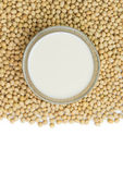 Soymilk and soy beans — Stock Photo