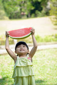 Little kid with watermelon — Stock Photo