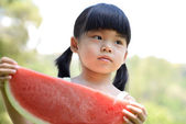 Child with watermelon — Stock Photo