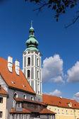 Turm im barockstil in cesky krumlov. — Stockfoto