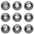 Black buttons with signs. — Stock Vector #1345385