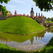 Stock Photo: Medieval castle and moat around it in Nesvizh, Belarus.