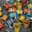 Ceramic mugs at market. - Stock Photo