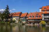 Half-timbered houses on a bank of stream in Bamberg, Germany. — Stock Photo