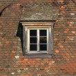 Window of attic on old tiled roof. — Stock Photo