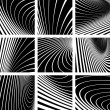 Abstract backgrounds set. Illusion of whirl motion. — Stock Vector