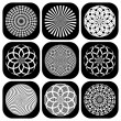 Stock Vector: Patterns in circle shape. Design elements set.