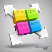 Cubos de colores con flechas 3d — Vector de stock