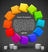 Colored cubes 3D — Stock Vector