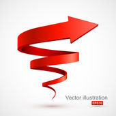 Red spiral arrow 3D — Stock Vector