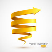 Yellow spiral arrow 3D — Stock Vector