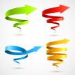 Set of colorful spiral arrows 3D — Stock Vector