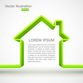 Green house outline — Stock vektor