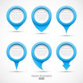 Set van blauwe cirkel pointers 3d — Stockvector