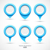 Set of blue circle pointers — Stock Vector