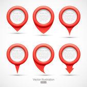 Set van rode cirkel pointers — Stockvector