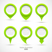 Set of green circle pointers 3D — Stock Vector