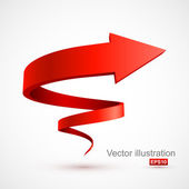 Red spiral arrow 3D — Stock Vector