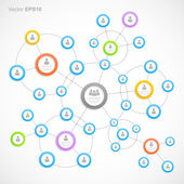Abstract network with circles — Stock Vector