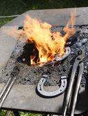 Forging a Horseshoe. — Stock Photo