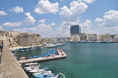 Panoramic view of Gallipoli harbour,Italy — Stock Photo