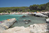 Pláž krajiny, porto selvaggio, apulie, itálie — Stock fotografie