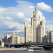 Stalin skyscraper against the cloudy sky. — Stock Photo