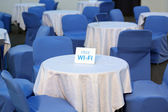 Tables in cafe with free access to the Internet — Stock Photo