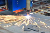 Laser cutting of metal — Stock Photo
