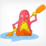 Funny Monster. Kayaker. — Stock Vector #11833652