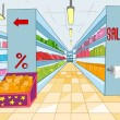 Supermarket Cartoon - Stockvektor