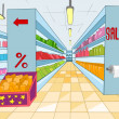 Supermarket Cartoon - Stock Vector