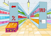 Supermarket Cartoon — Vector de stock