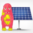 Постер, плакат: Funny Monster Thinking about Solar Energy