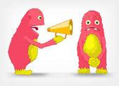 Funny Monster. Speaker. — Stock Vector