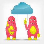 Funny Monster. Cloud Service. — Stock Vector