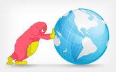 Funny Monster. Globe. — Stock Vector