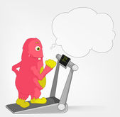 Funny Monster. Gym. — Stock Vector